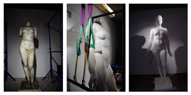 Fulbert Dubois restauration patrimoine sculpture nettoyage remontage ragréage consolidation statue platre avant pendant apres