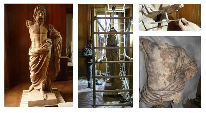 remontage nettoyage ragréage statue terre cuite avant pendant apres